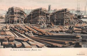 R. Palmer & Sons Shipyard, Noank, CT., Early Hand Colored Postcard, Unused