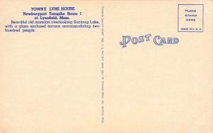 Town Lyne House, Lynnfield, Massachusetts, Early Linen Postcard, unused