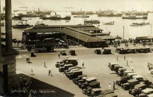singapore, Johnston's Pier, Bus Cars, Ships (1910s) RPPC