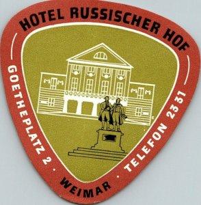 Germany Weimar Hotel Russischer Hof Vintage Luggage Label sk4733