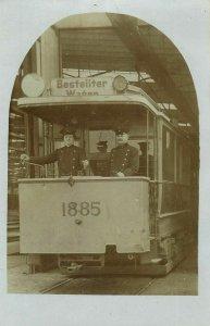 germany, Tram, Street Car, Strassenbahn Nr. 1885, Uniform (1910s) RPPC Postcard