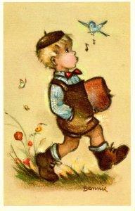 Little Boy Whistling with Bird.  Artist: Bonnie      (Mainzer #574)