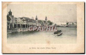 Old Postcard The Seine right bank Paris