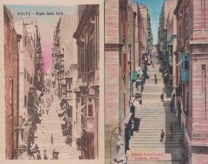 Malta Strada Santa Lucia Steps 2x Old Maltese Postcard s