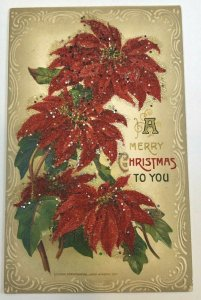 A Merry Christmas To You , Embossed Glitter ; 1911 John Winsch Vintage Postcard