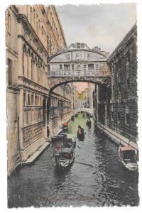 Italy Venezia Bridge of Sighs Ponte dei Sospiri Gondola Canal Vtg Postcard