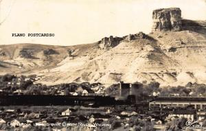 GREEN RIVER, WYOMING CASTLE ROCK OVERLOOKING GREEN RIVER RPPC REAL PHOTO P.C.