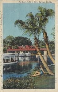 Silver Springs Florida~Boat Docks~Bathing Beauty Under Palm Tree~1939 Postcard