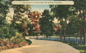 Belford NJ New Jersey Scenery Great and I'm Feeling First-Rate - pm 1944 - Linen