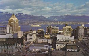 Aerial view, Harbour and Mountains,  Vancouver,  B.C.,  Canada,  40-60s