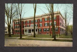 ME Vintage view Foss Hall Colby College Waterville Maine Postcard