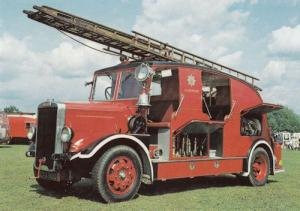 Leyland Welsh Glamorgan Fire Appliance Semi Limousine Engine Postcard