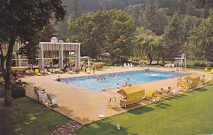 Swimming Pool in the beautiful gardens of Harrison Hot Springs Hotel,  B.C., ...