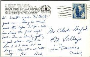 Honolulu, Hawaii Postcard The EDGEWATER HOTEL at Waikiki Pool View 1958 Cancel