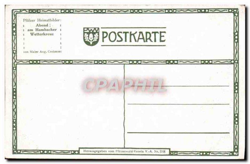 Old Postcard Abend Am Hambacher Wetterkreuz