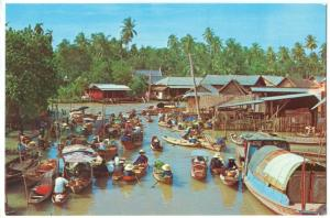 Thailand, The Floating Market, unused Postcard