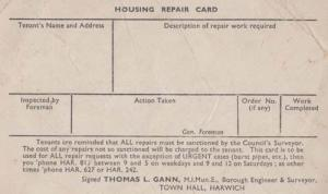 Harwich Housing Benefit Repair Card Builders Antique Tenant Tenancy Postcard