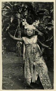 indonesia, BALI, Beautiful Young Girl Legong Dancer (1920s) RPPC Postcard