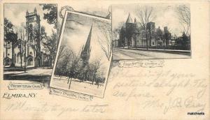 1904 Elmira New York Churches Presbyterian Episcopal Baptist postcard 11011