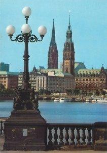 Postcard Germany Hamburg city view from Lombardsbrucke