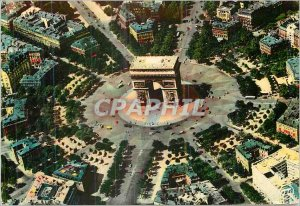 Modern Postcard Under the Sky of Paris Aerial view of the Place Charles de Ga...