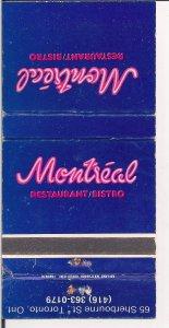 Matchbook Cover ! Montreal Restaurant/Bistro, Toronto, Ontario !