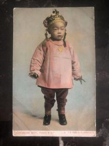 Mint Canada RPPC Postcard Chinese Boy Victoria BC