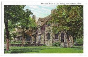 The Rock House at Lake Murray, near Ardmore, Oklahoma, unused linen American Art