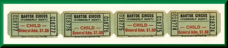 Vintage Bartok Circus Tickets, Formerly Hunt's Circus, 1960's?