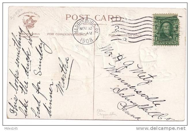 1907 IAP Thanksgiving Postcard Signed Clapsaddle Roast Turkey Feast Embossed