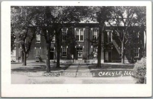 Carlyle, Illinois RPPC Real Photo Postcard Clinton County Court House c1950s