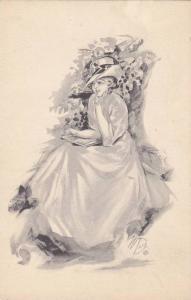 DARR: Woman in Dress & Hat Reading Book in Garden 1900-10s