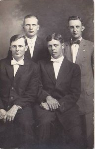 Four Gentlemen With Bow Ties Posing For Picture Real Photo