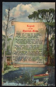 Florida Legend of the SPANISH MOSS verse by P.M.L. Tropical Florida Series LINEN