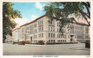 High School, Lawrence, Massachusetts, Early Postcard, Used in 1930