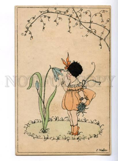 177278 ART NOUVEAU Fairy ELF w/ Flower by WEBER Vintage NPG PC