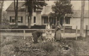 Plymouth VT John Coolidge in Flower Garden c1915 Real Photo Postcard