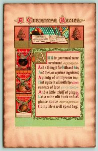Ellen H Clapsaddle~Christmas Calligraphy Recipe~Burnished Parchment~1910 IAPC