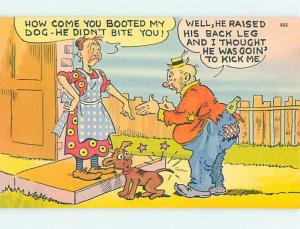 Unused Linen comic MAN BOOTS DOG IN THE BUTT o7970