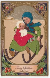 CHRISTMAS, PU-1910; Children on sled, hand muff, Holly, PFB 9103