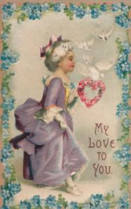VALENTINE´S DAY; My Love to you, Old woman with heart shaped wreath of ros...