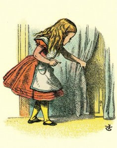 Alice In Wonderland Finds Door Rabbit Little Folks Book Edition Postcard