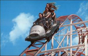 Roller Coaster JET STAR Santa Cruz CA Boardwalk Postcard