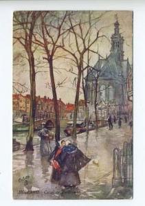 Raphael Tuck Wide Wide WorldHolland Canal de Turfmarkt Postcard