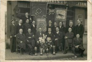 Belgium pool championship winners cups sportmen 1930s club members 11x17cm
