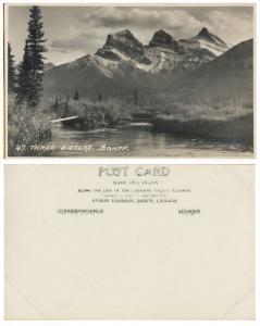 RPPC - Three Siters- Baniff National Park, Alberta Canada-CP