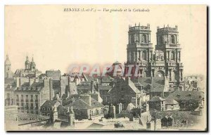Old Postcard Rennes I and V and the Cathedral General view