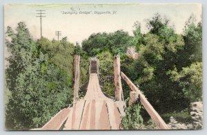 Biggsville Illinois~Swinging Wood Plank Bridge~Steps on Hillside~c1910 Postcard