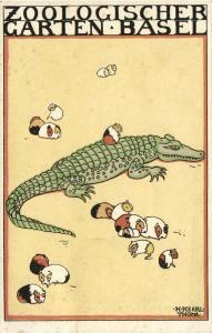 Artist Signed H. Keerl-Thoma, Zoologischer Garten Basel, Crocodile (1931)