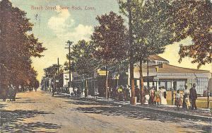 Savin Rock CT Busy Dirt Beach Street in 1909 Postcard